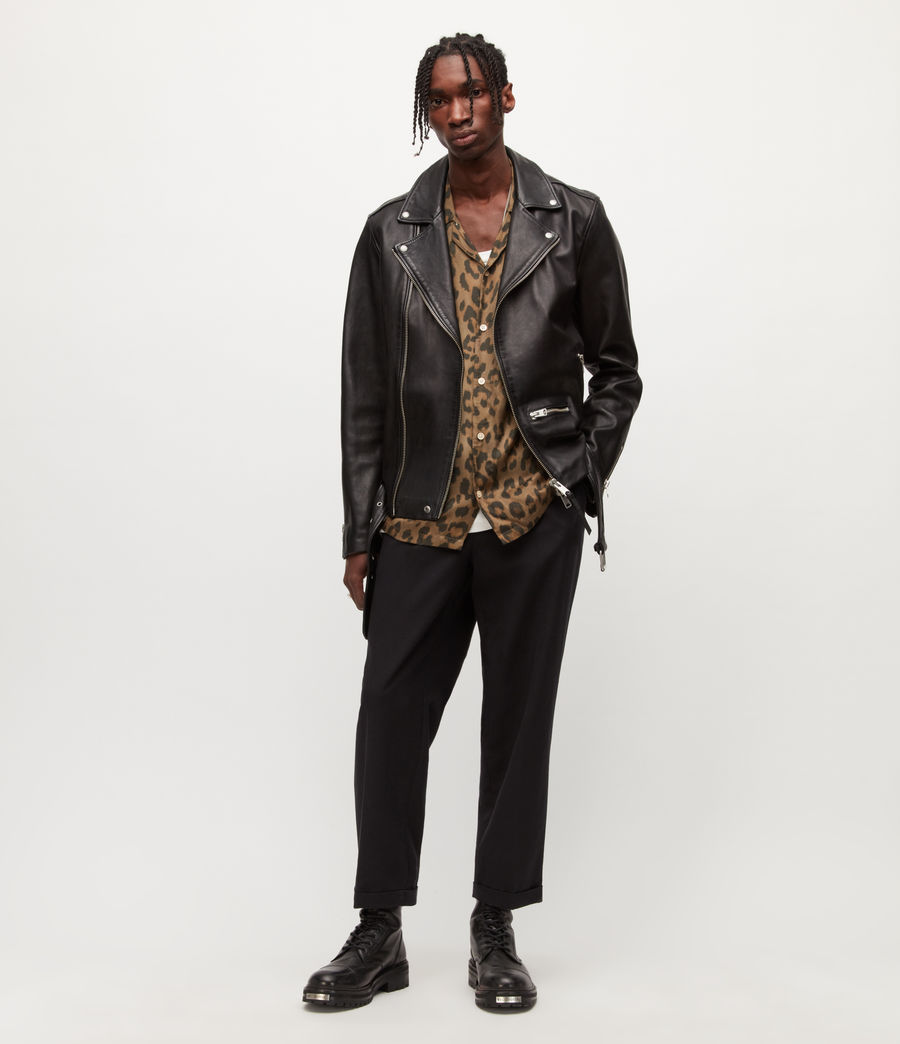 Men's Wick Leather Biker Jacket (black) - Image 6