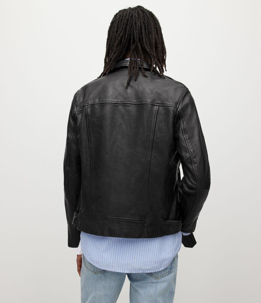 Men's Wick Leather Biker Jacket (black) - Image 7