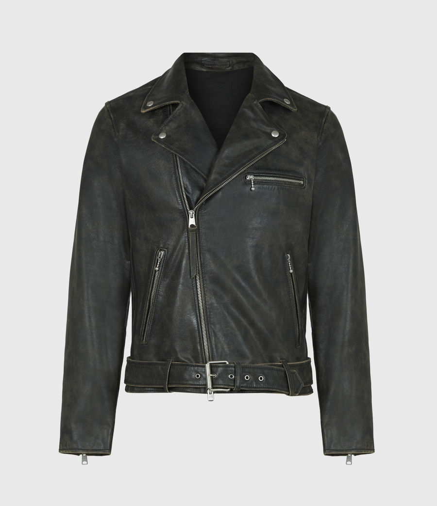 Men's Hank Leather Biker Jacket (brown) - Image 2