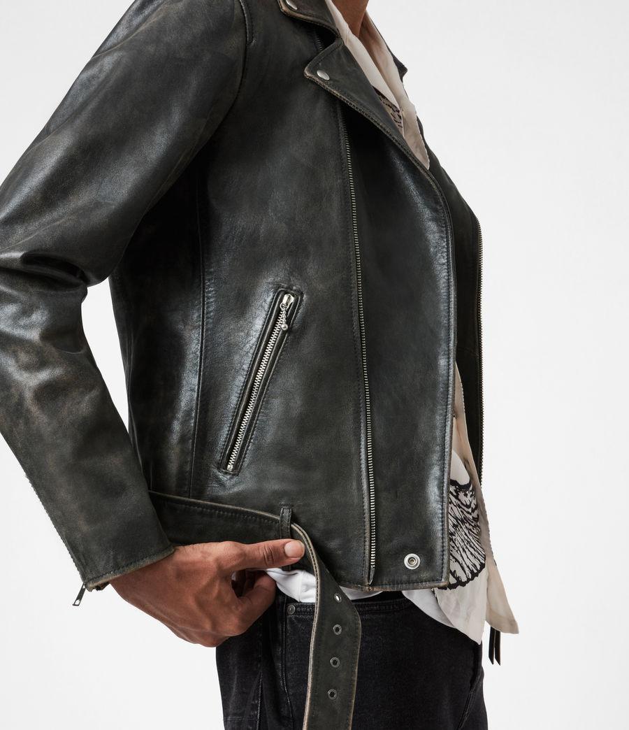 Mens Hank Leather Biker Jacket (brown) - Image 4