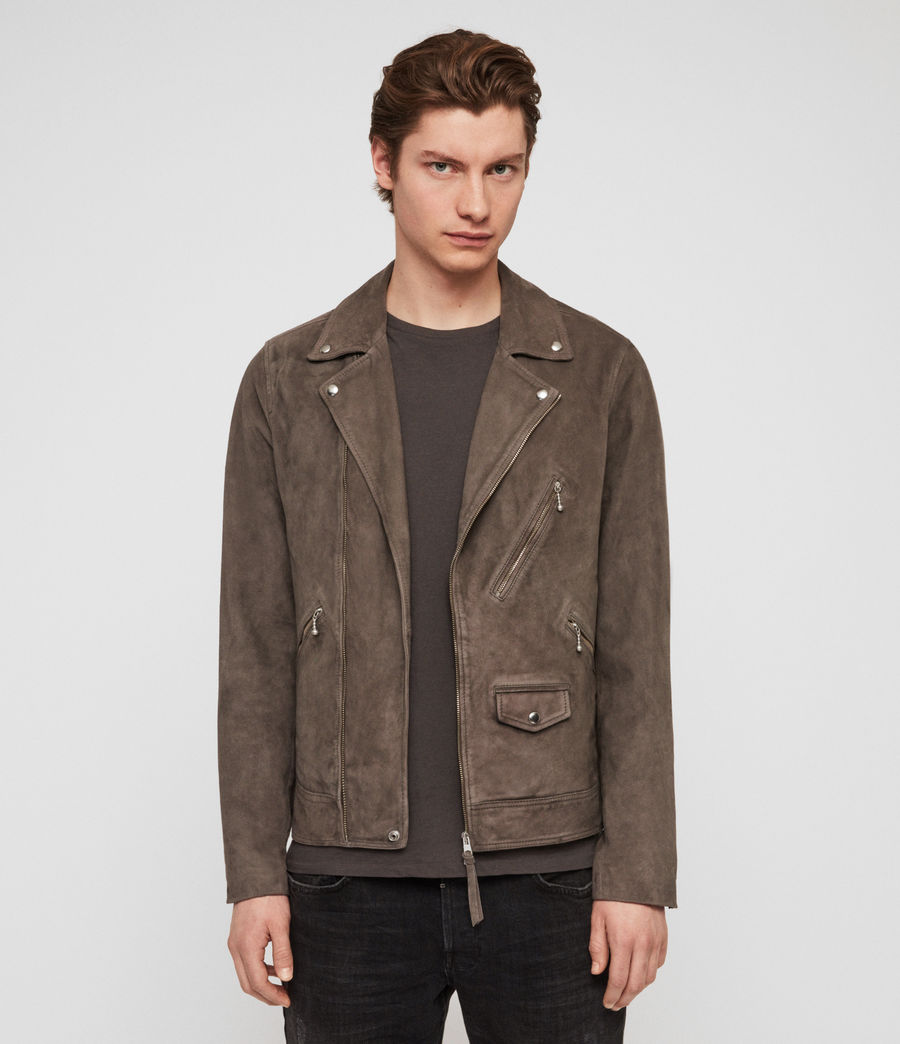 Mens Holt Suede Biker Jacket (graphite_grey) - Image 1