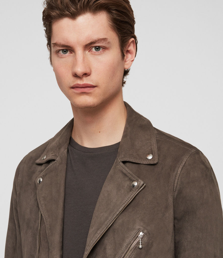 Mens Holt Suede Biker Jacket (graphite_grey) - Image 2