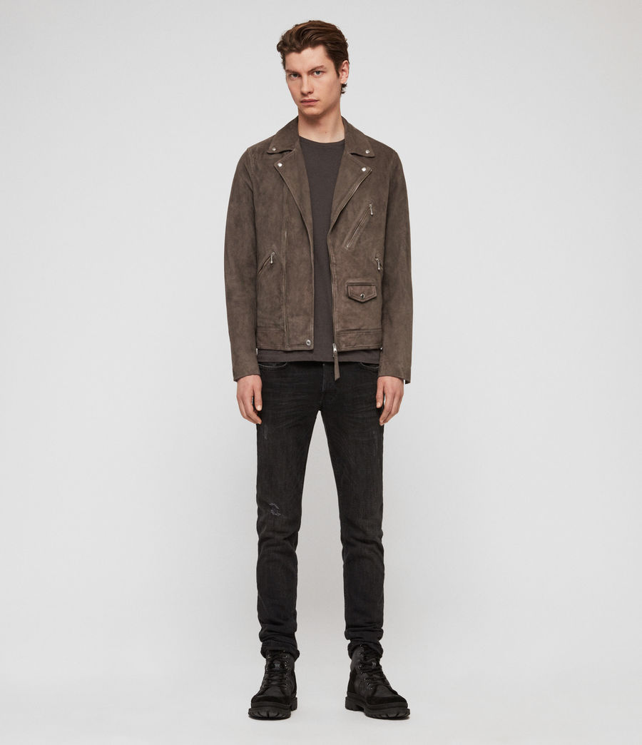 Mens Holt Suede Biker Jacket (graphite_grey) - Image 3