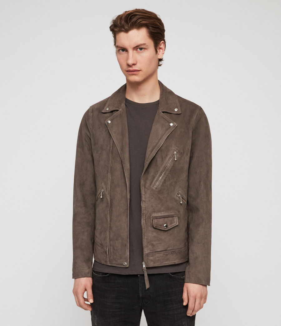 Mens Holt Suede Biker Jacket (graphite_grey) - Image 4