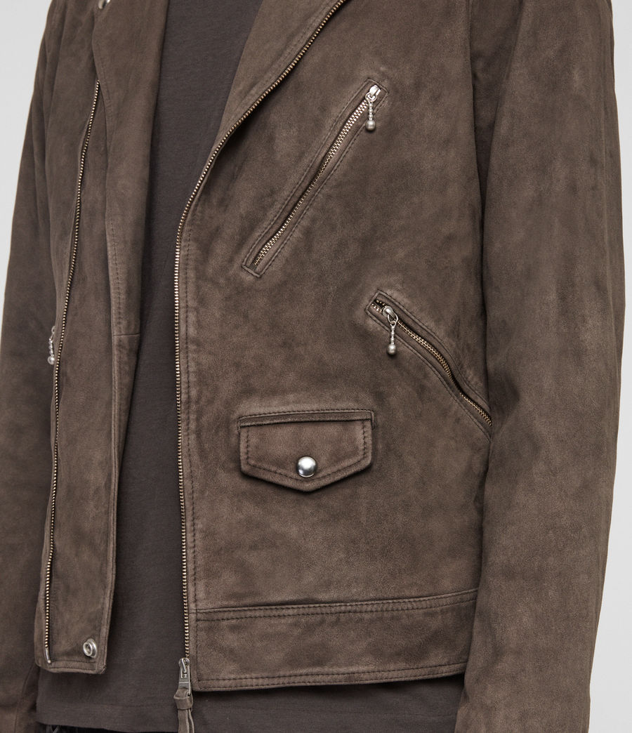 Mens Holt Suede Biker Jacket (graphite_grey) - Image 5