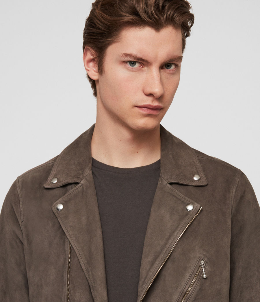 Mens Holt Suede Biker Jacket (graphite_grey) - Image 6