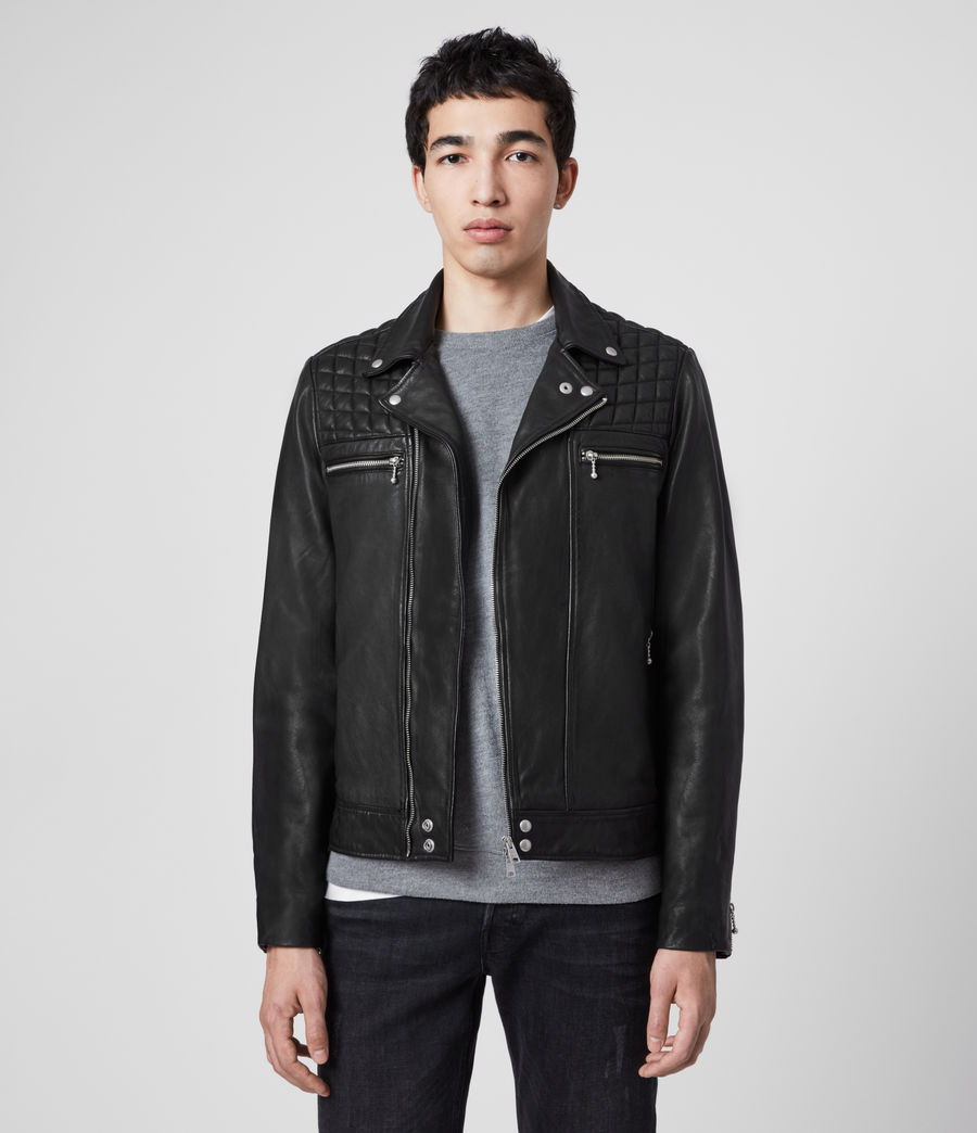 Mens Ronver Leather Biker Jacket (black) - Image 1