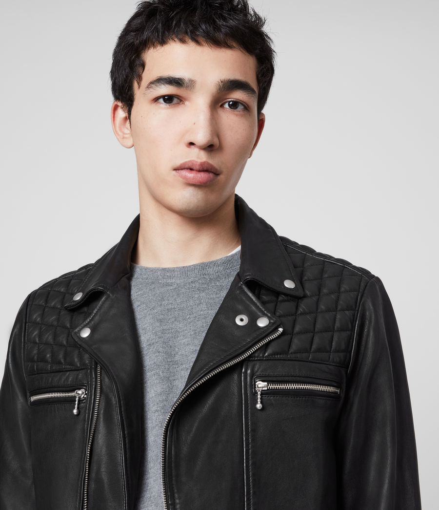 Men's Ronver Leather Biker Jacket (black) - Image 2