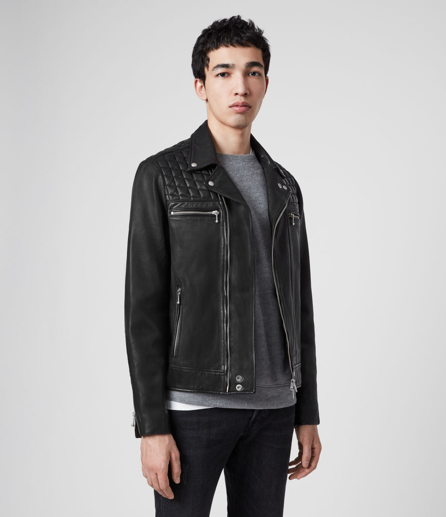 Men's Ronver Leather Biker Jacket (black) - Image 4