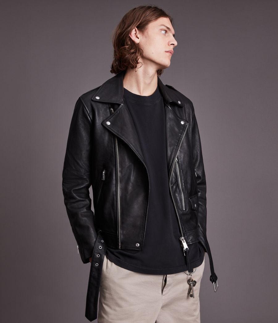 Men's Dren Leather Biker Jacket (black) - Image 1