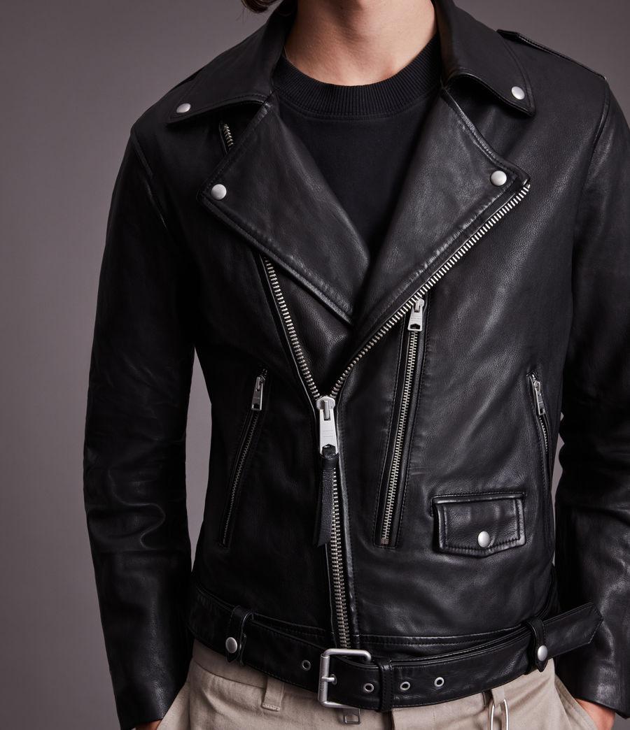Men's Dren Leather Biker Jacket (black) - Image 2