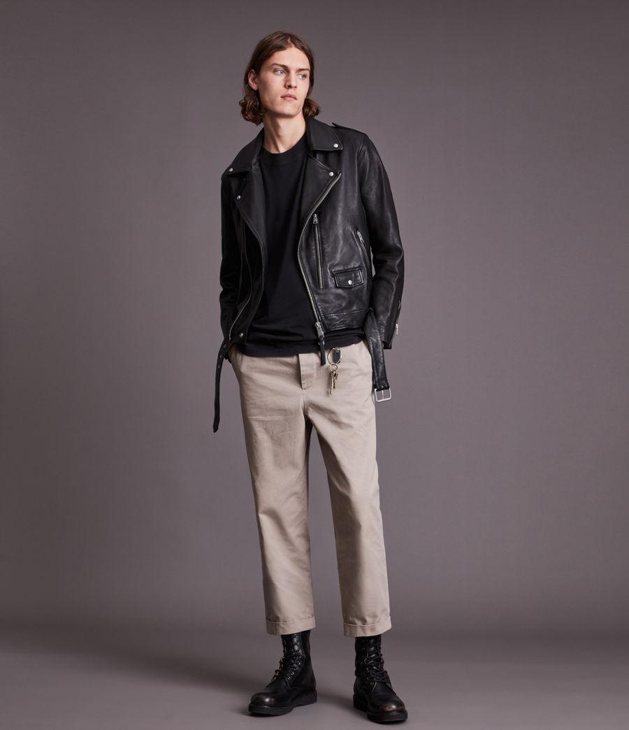 Men's Dren Leather Biker Jacket (black) - Image 3
