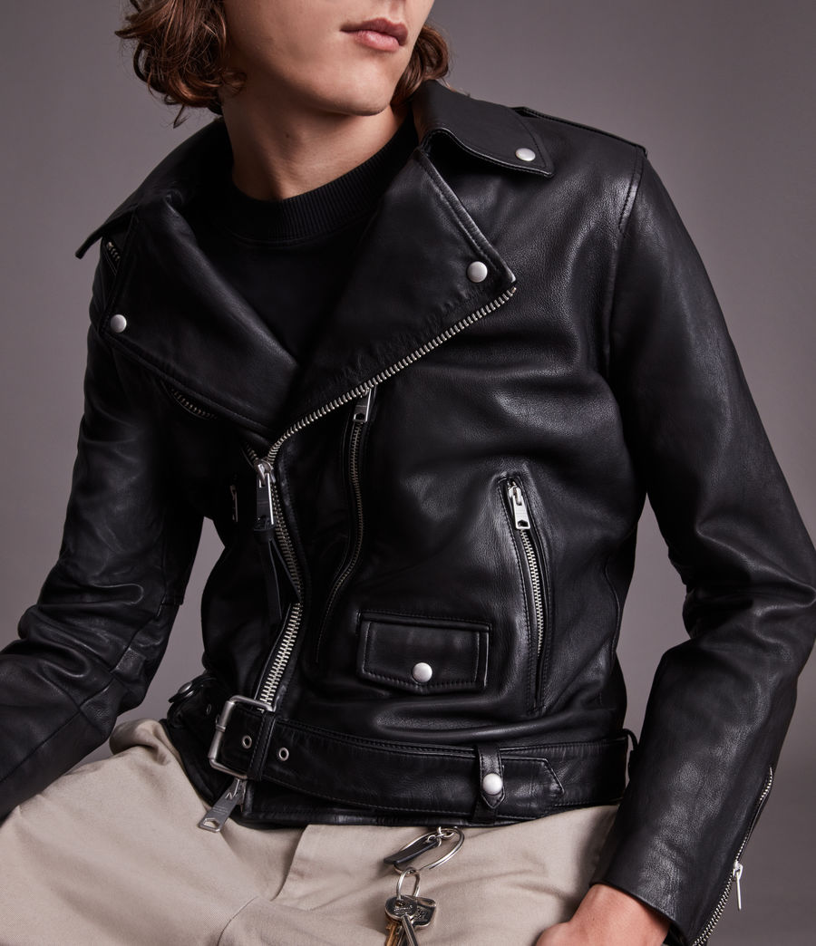 Men's Dren Leather Biker Jacket (black) - Image 5