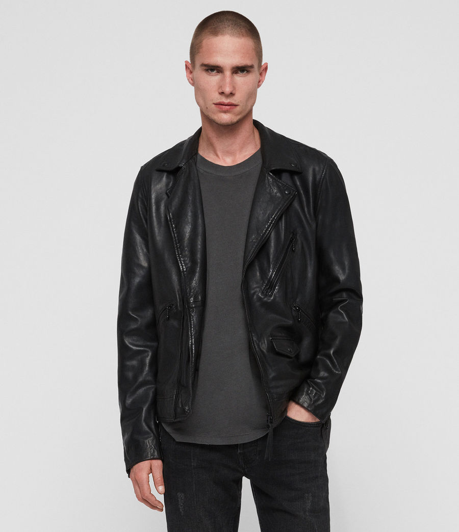 Mens Holt Leather Biker Jacket (jet_black) - Image 1