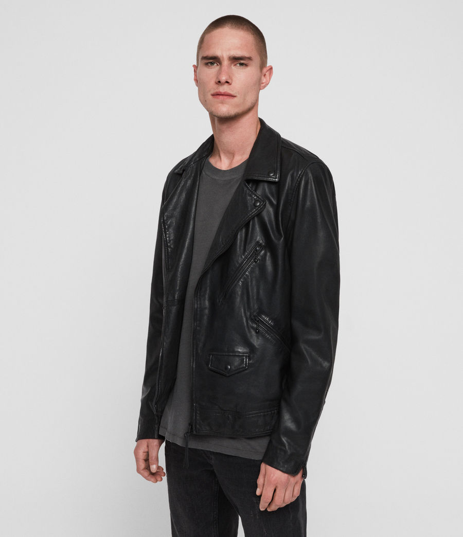 Mens Holt Leather Biker Jacket (jet_black) - Image 2