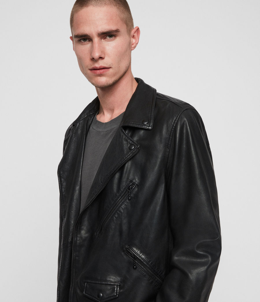 Mens Holt Leather Biker Jacket (jet_black) - Image 3