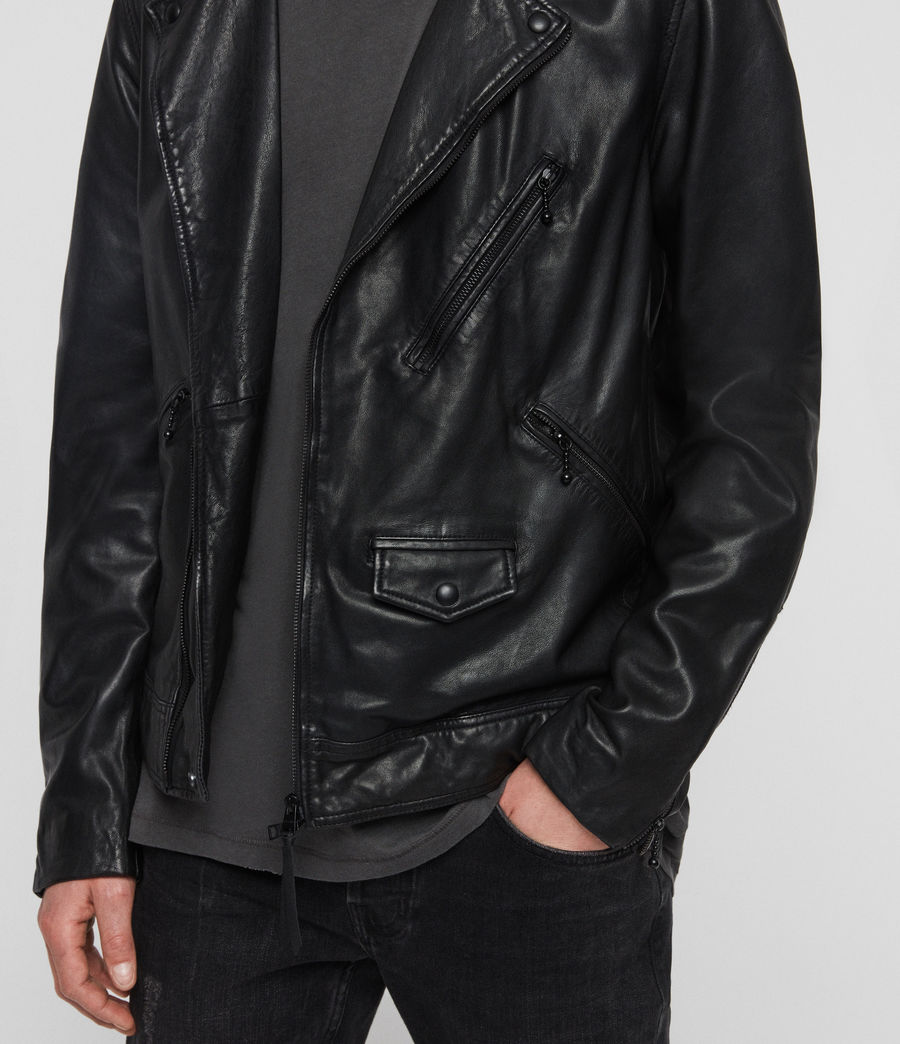 Hombre Holt Leather Biker Jacket (jet_black) - Image 4