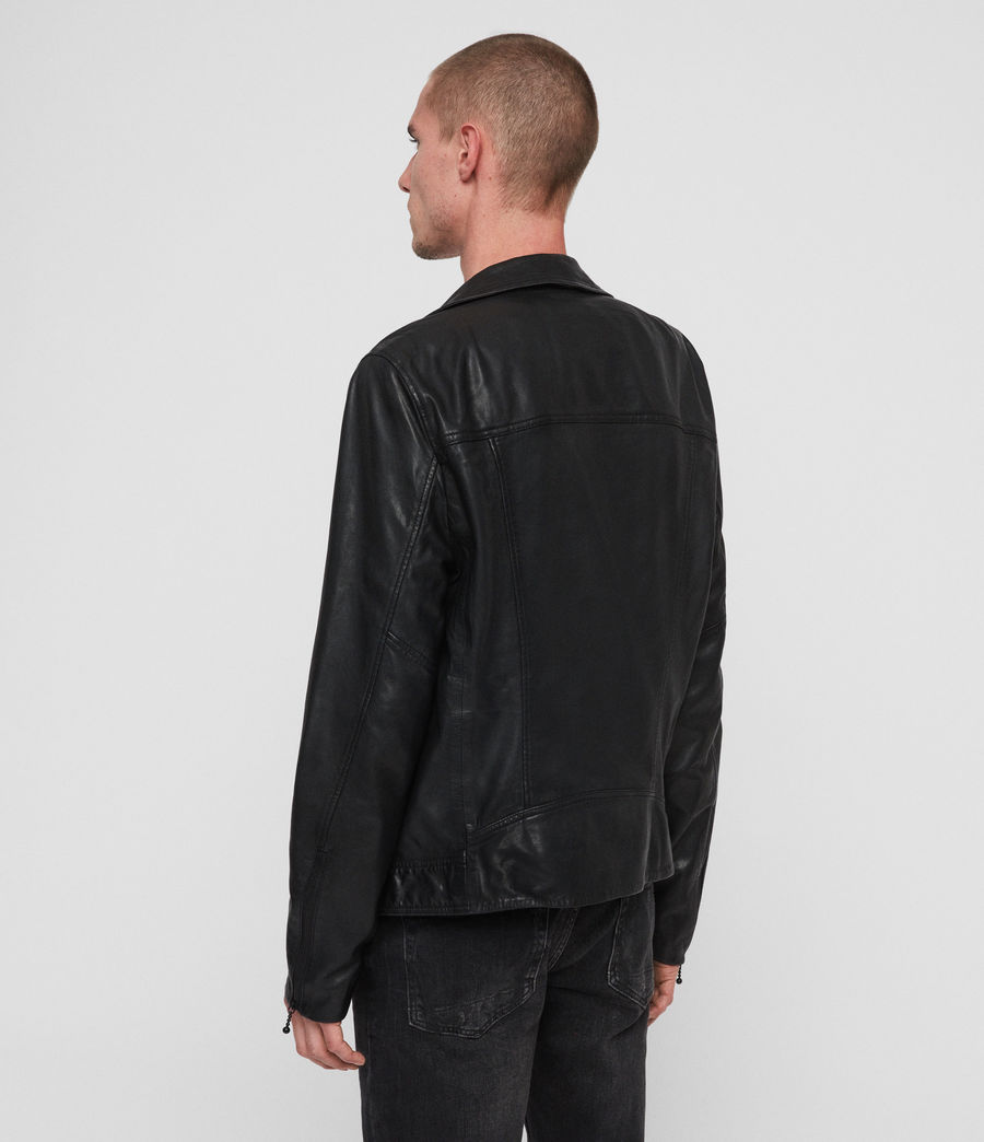 Hombre Holt Leather Biker Jacket (jet_black) - Image 5