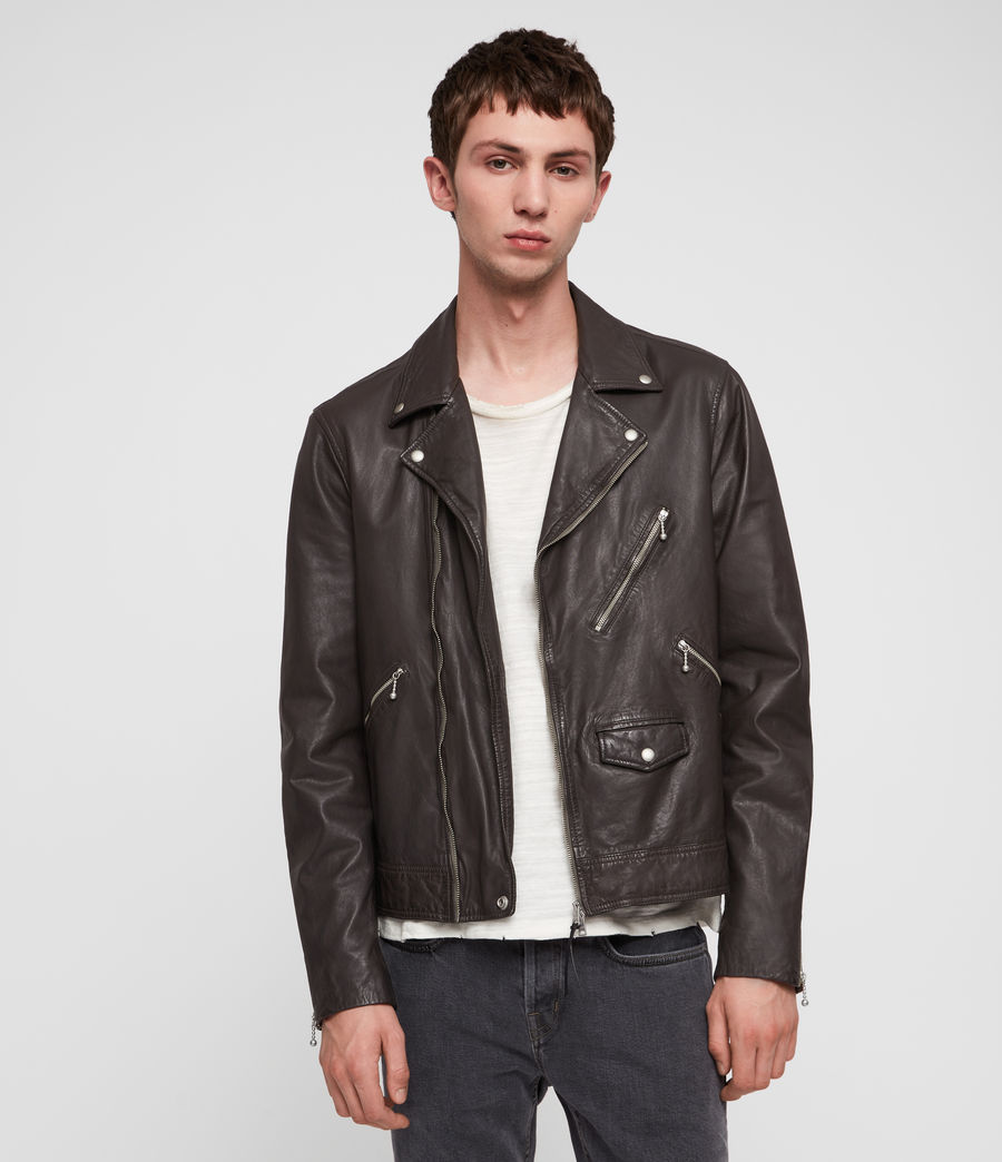 Mens Holt Leather Biker Jacket (graphite_grey) - Image 1