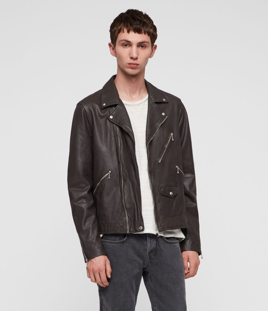 Mens Holt Leather Biker Jacket (graphite_grey) - Image 3