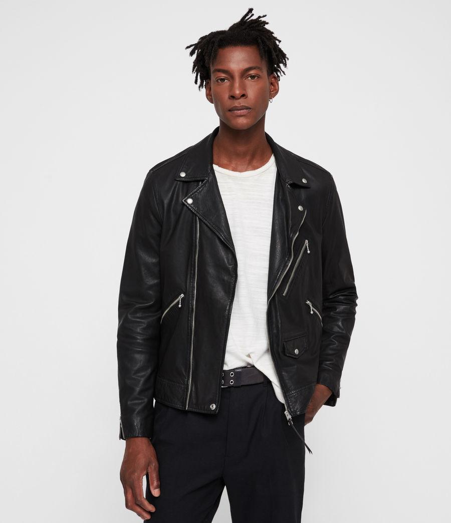 Uomo Holt Leather Biker Jacket (black) - Image 4