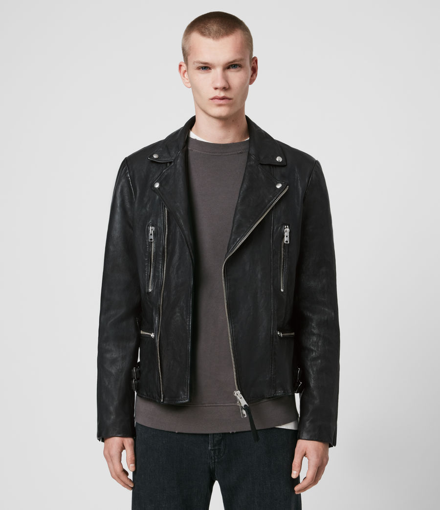 Men's Mazo Leather Biker Jacket (black) - Image 1