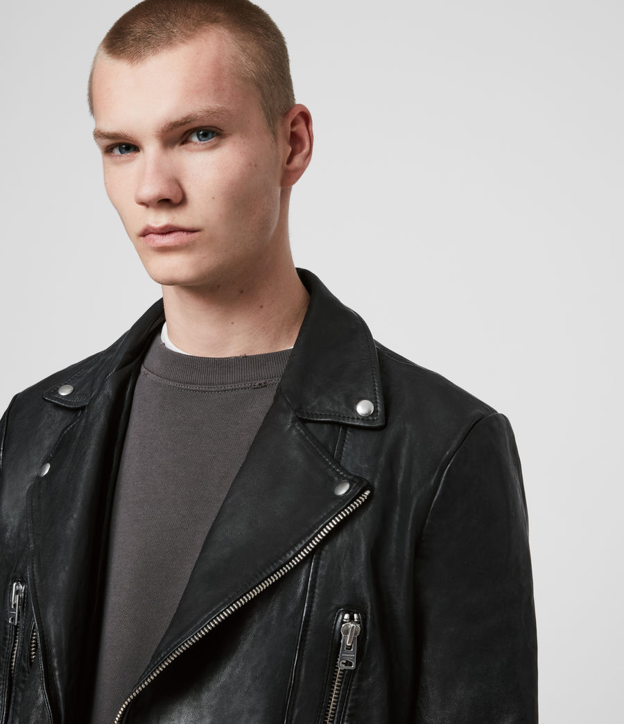 Mens Mazo Leather Biker Jacket (black) - Image 2