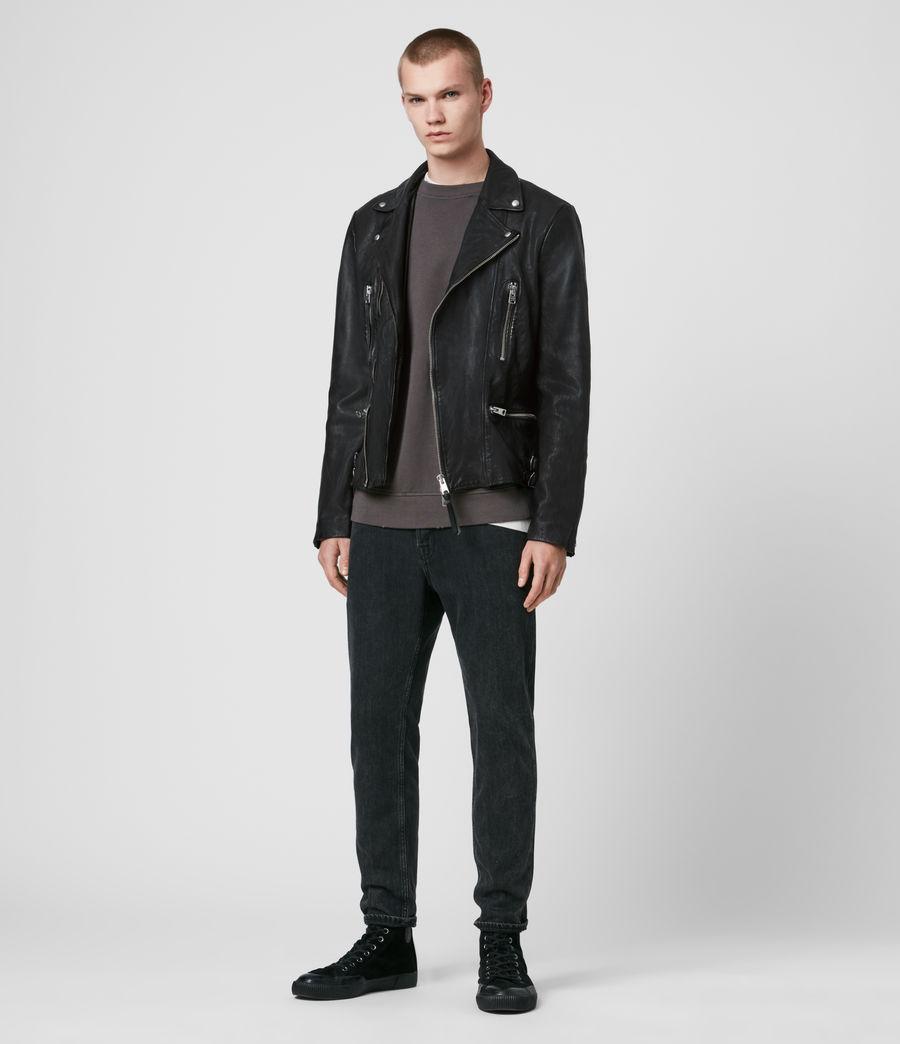 Mens Mazo Leather Biker Jacket (black) - Image 3