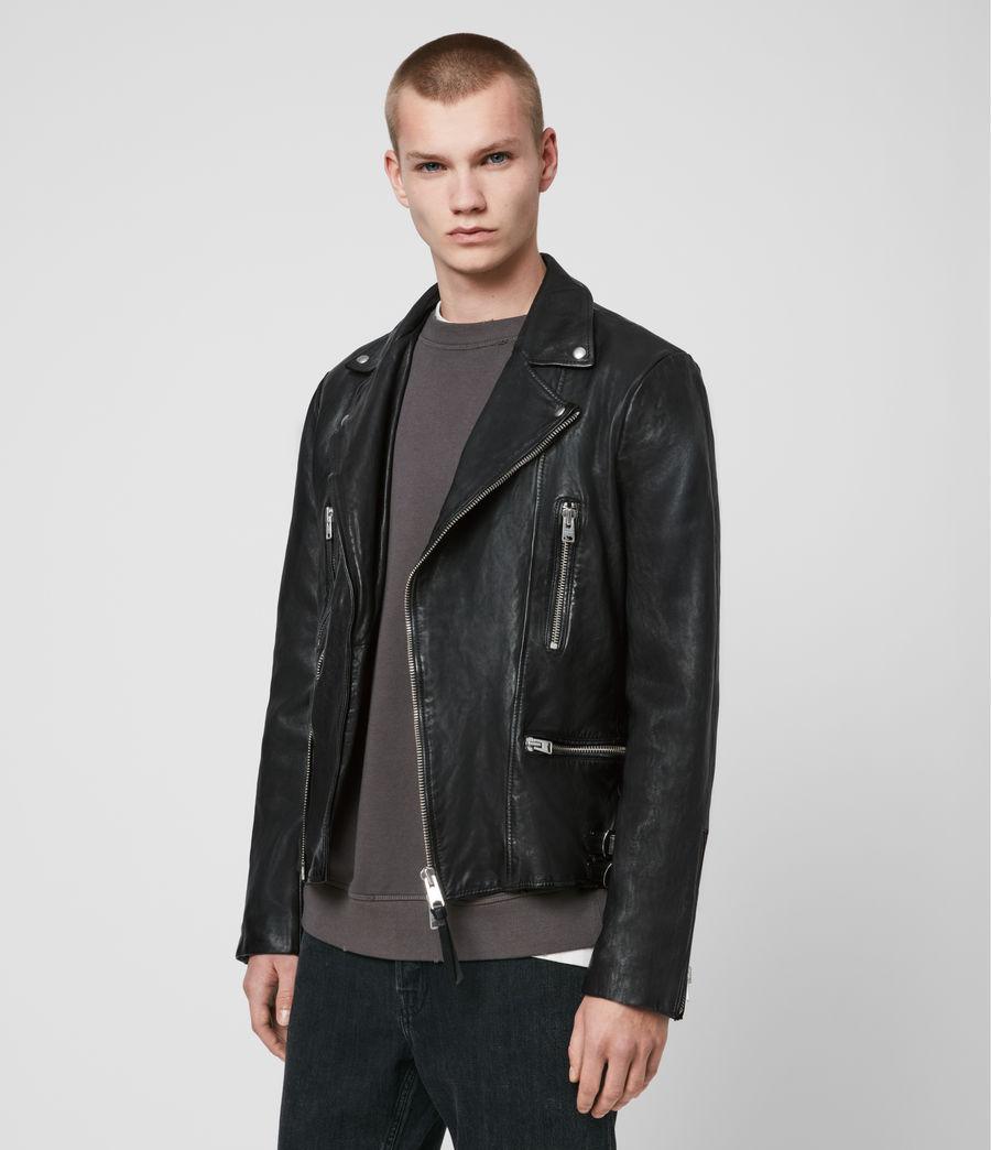 Mens Mazo Leather Biker Jacket (black) - Image 4