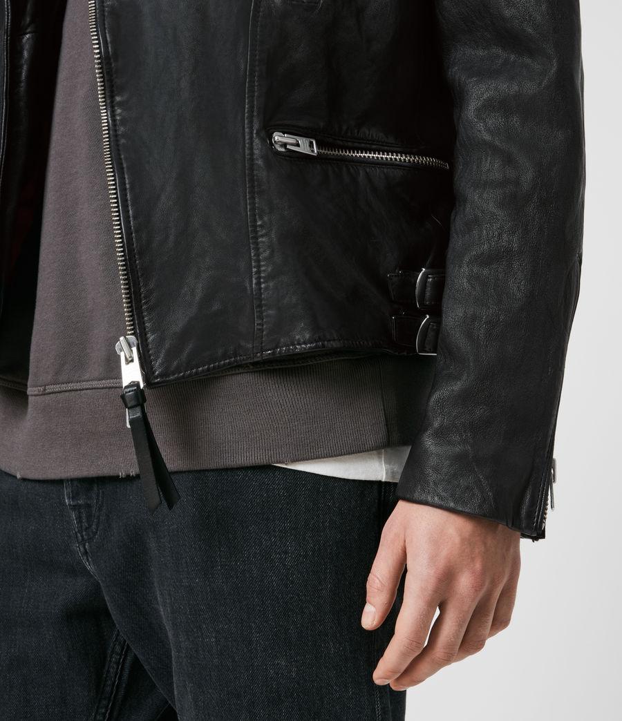 Mens Mazo Leather Biker Jacket (black) - Image 5