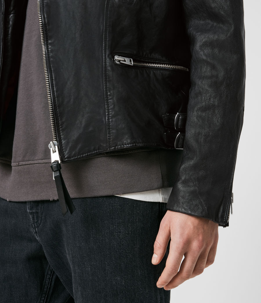 Men's Mazo Leather Biker Jacket (black) - Image 5