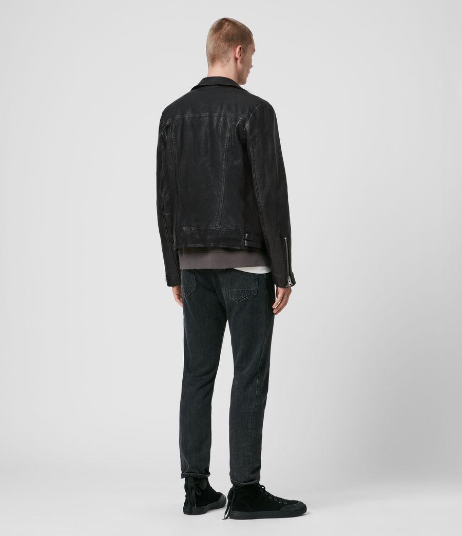 Mens Mazo Leather Biker Jacket (black) - Image 6