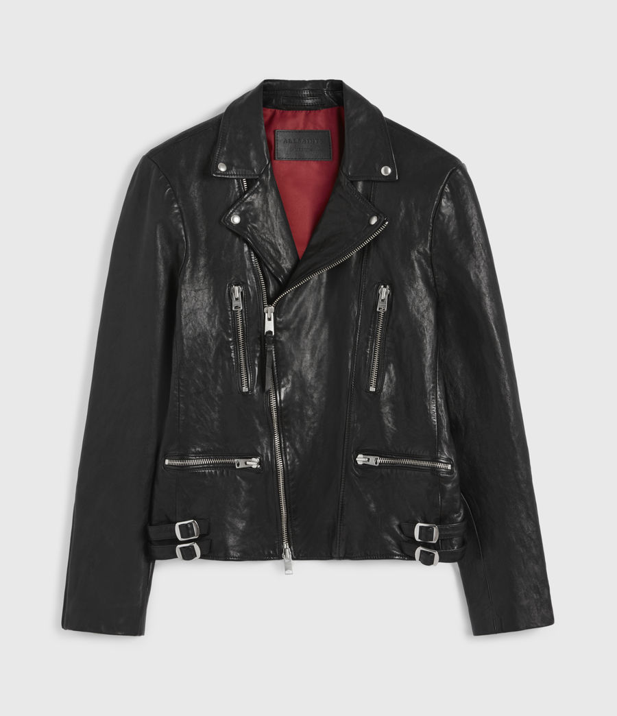 Mens Mazo Leather Biker Jacket (black) - Image 7