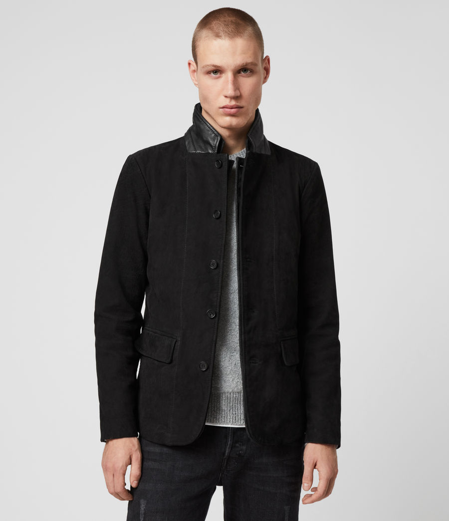 Mens Survey Leather Blazer (washed_black) - Image 1