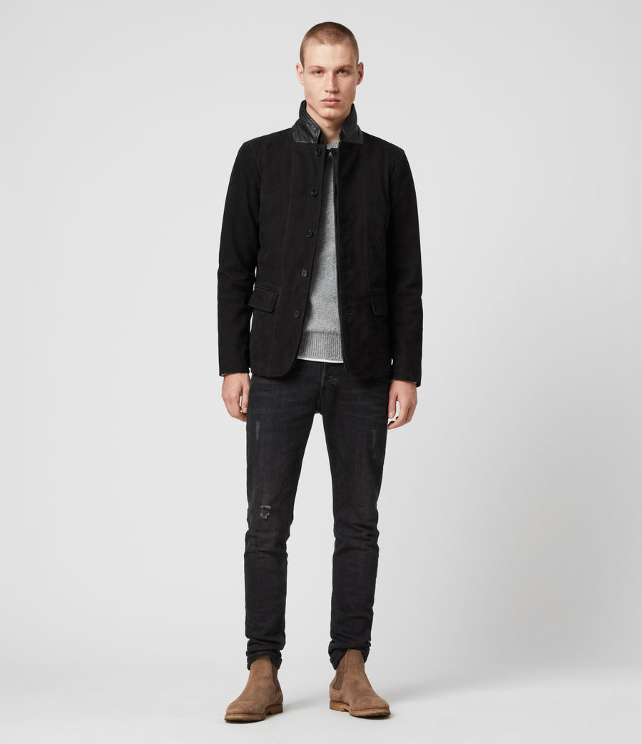 Mens Survey Leather Blazer (washed_black) - Image 3