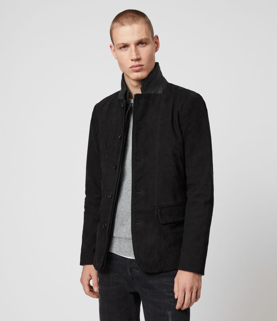Men's Survey Leather Blazer (washed_black) - Image 5