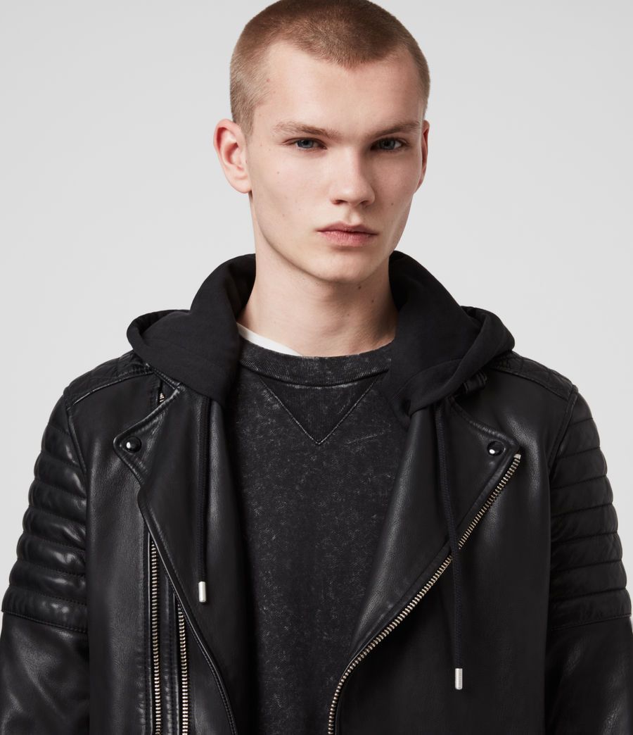 Hombre Cobden Leather Biker Jacket (black) - Image 2