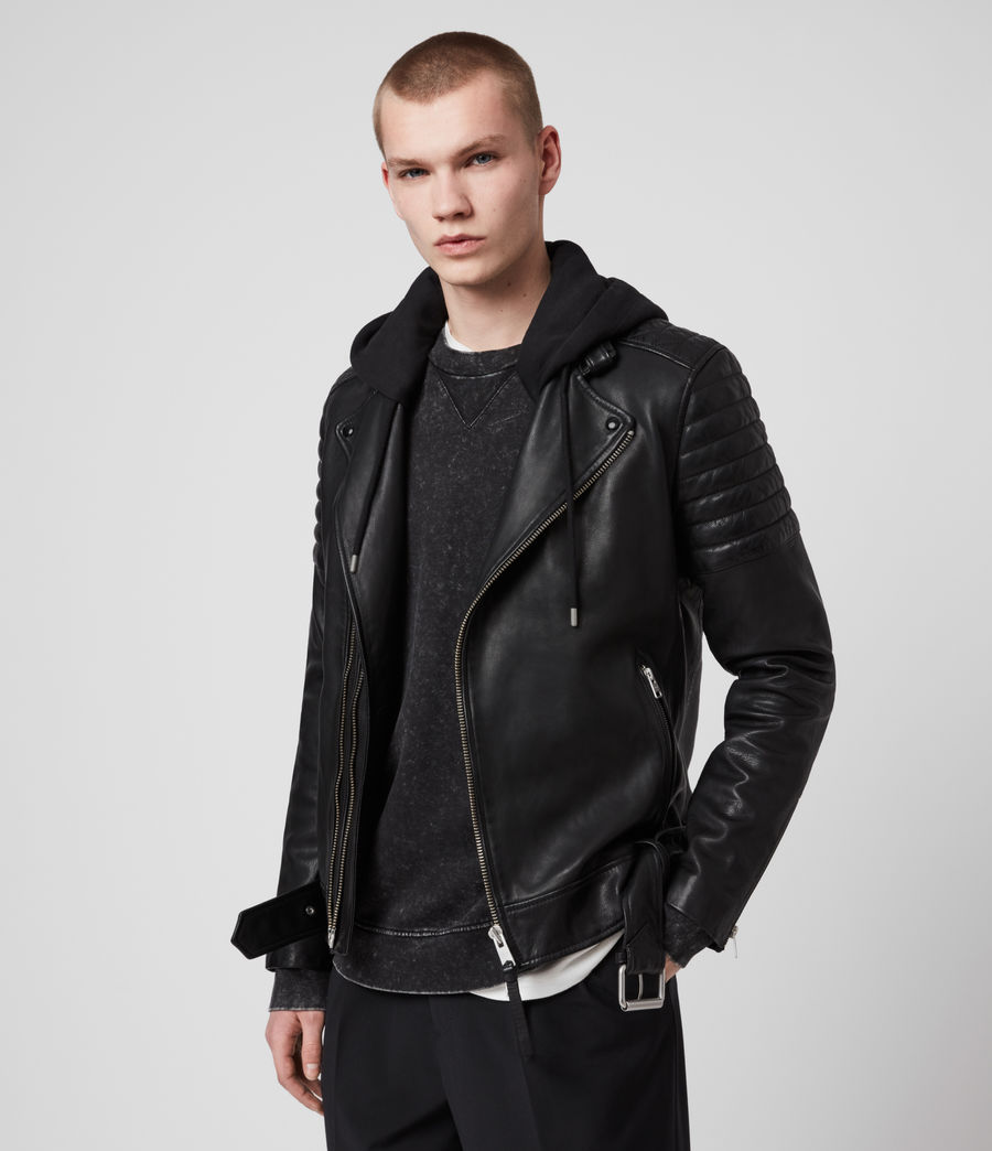 Mens Cobden Leather Biker Jacket (black) - Image 4