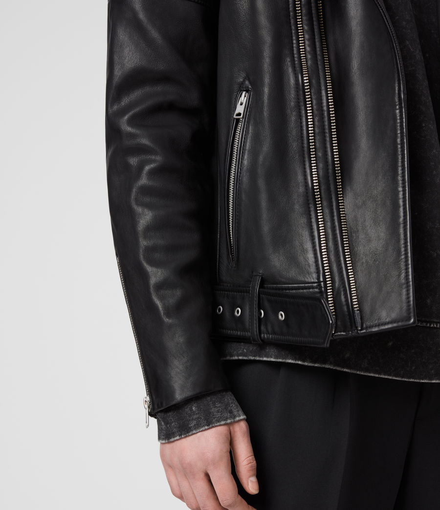 Hombre Cobden Leather Biker Jacket (black) - Image 5