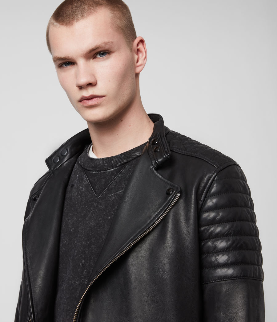 Hombre Cobden Leather Biker Jacket (black) - Image 6