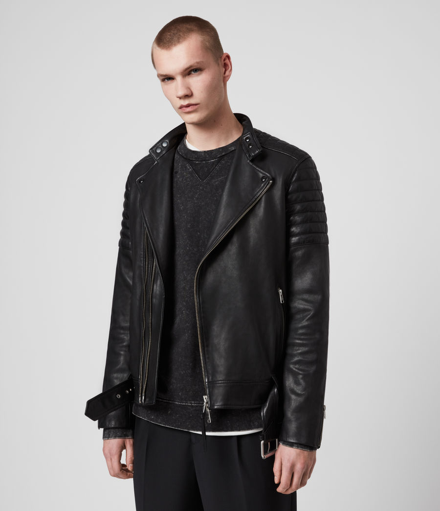 Hombre Cobden Leather Biker Jacket (black) - Image 7