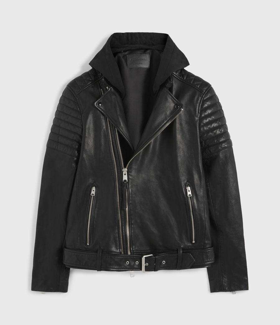 Hombre Cobden Leather Biker Jacket (black) - Image 9