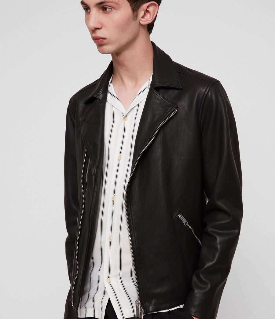 Hombres Ezra Leather Biker Jacket (jet_black) - Image 1