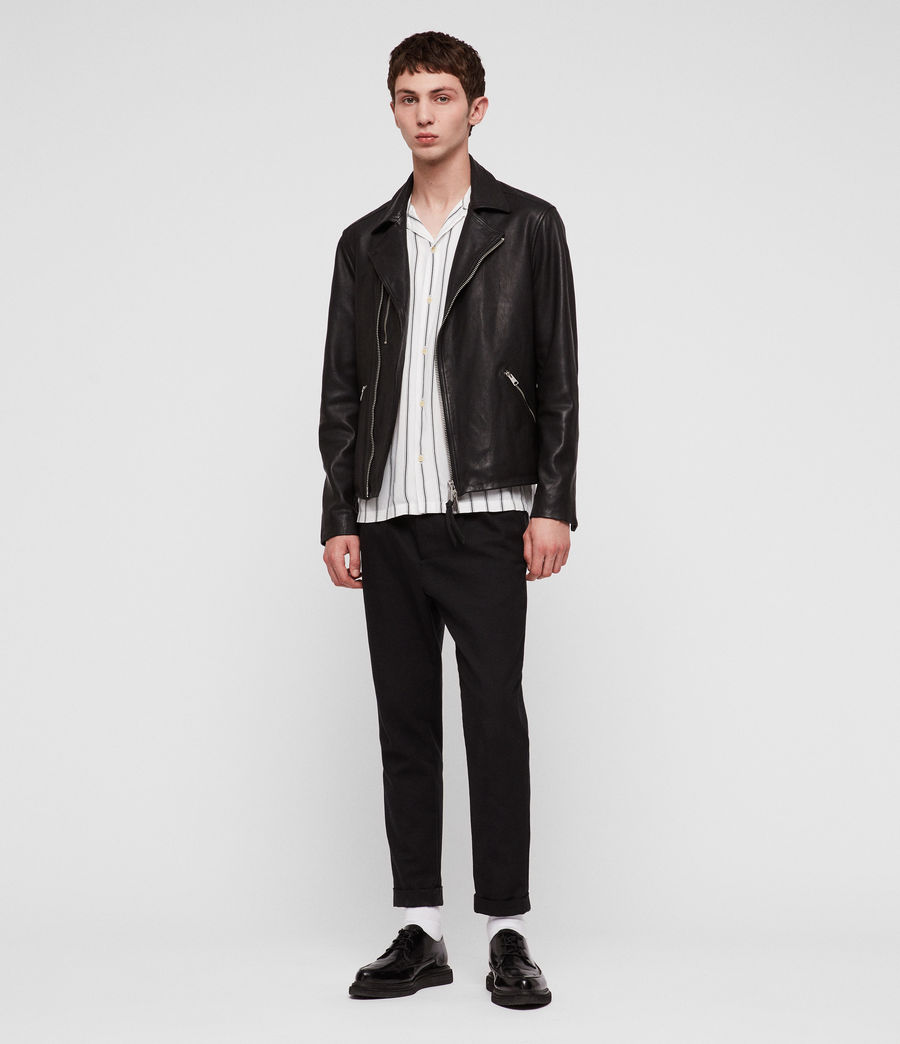 Hombres Ezra Leather Biker Jacket (jet_black) - Image 2