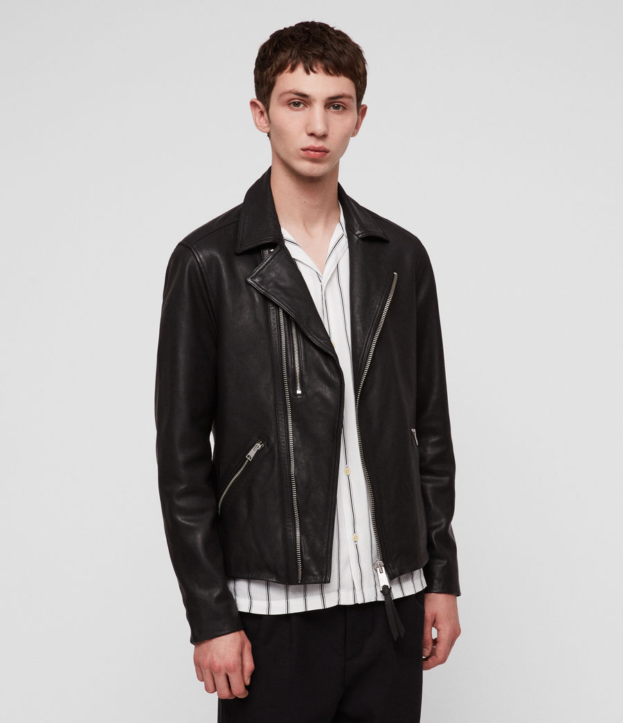 Hombres Ezra Leather Biker Jacket (jet_black) - Image 3