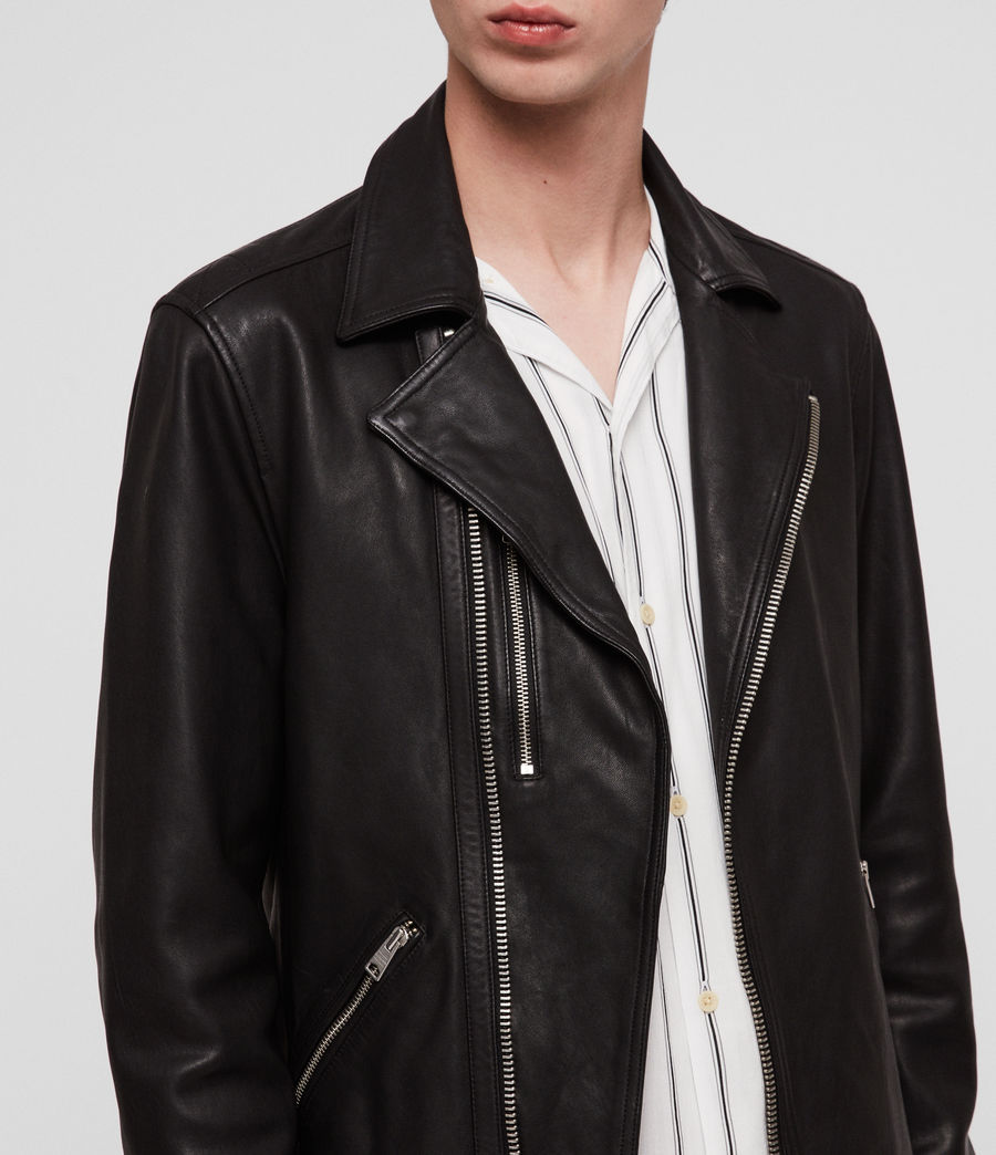 Hombres Ezra Leather Biker Jacket (jet_black) - Image 4
