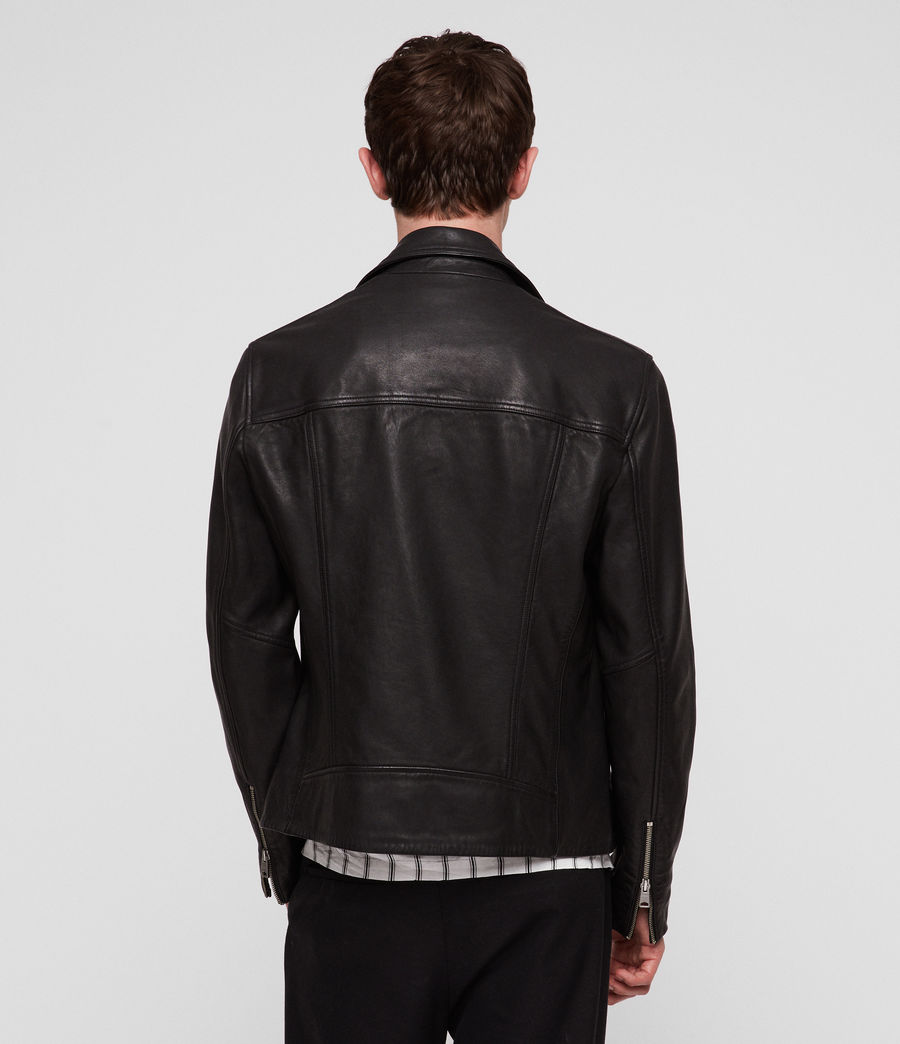 Hombres Ezra Leather Biker Jacket (jet_black) - Image 5