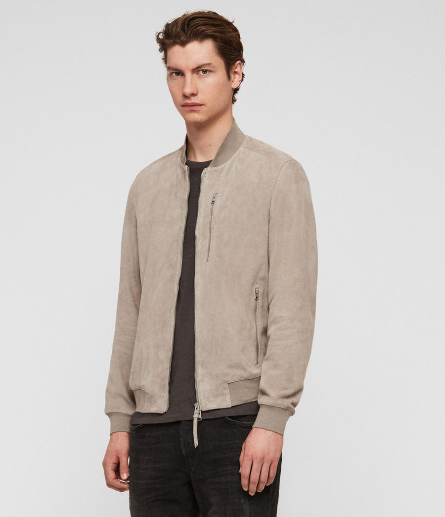Men's Kemble Suede Bomber Jacket (cement_grey) - Image 1