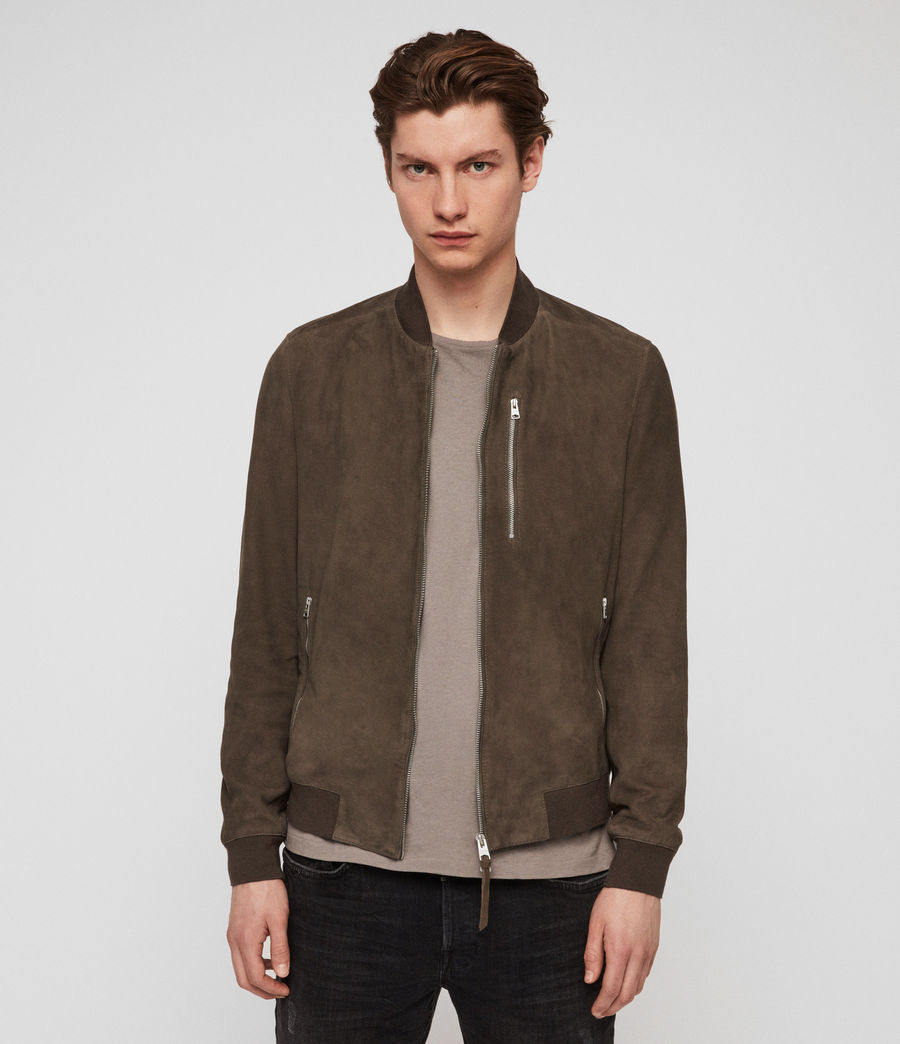 Mens Kemble Suede Bomber Jacket (gravel_grey) - Image 1