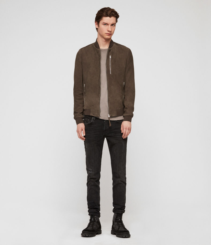 Mens Kemble Suede Bomber Jacket (gravel_grey) - Image 2